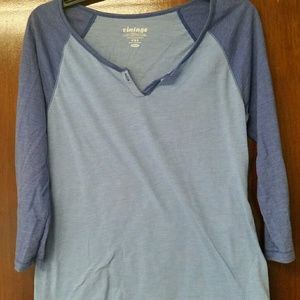 Blue. OLD NAVY. ¾ Sleeve Baseball Tee. Size Medium